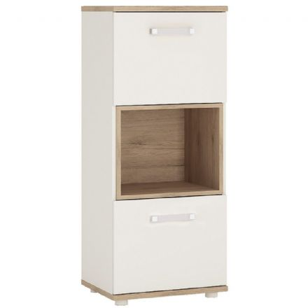 4KIDS 2 door narrow cabinet with open shelf in light oak and white high gloss with opalino handles